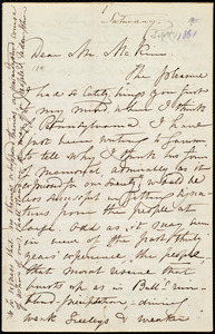 Letter from Maria Weston Chapman, [Weymouth?, Mass.], to James Miller M'Kim, [Sept. 1861]