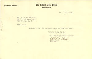 Letter from Detroit Free Press to W. E. B. Du Bois