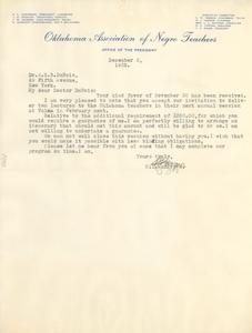 Letter from Oklahoma Association of Negro Teachers to W. E. B. Du Bois