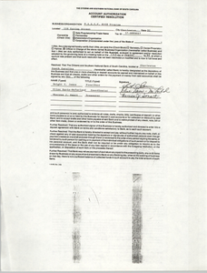 Account Authorization Certified Resolution Form, Citizen and National Bank of South Carolina, NAACP Rich Program, August 22, 1990