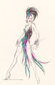 Costume design drawing, teal, pink and black showgirl costume, Las Vegas, June 5, 1980