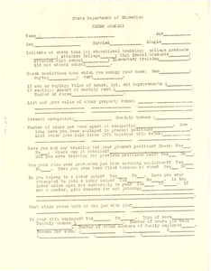 Questionnaire on Negro workers