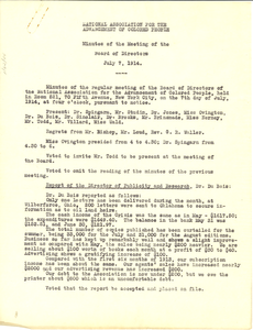 National Association for the Advancement of Colored People Minutes of the meeting of the Board of Directors July 7, 1914