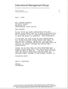 Letter from Mark H. McCormack to Brenda Blumberg
