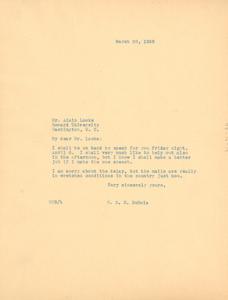 Letter from W. E. B. Du Bois to Alain Locke