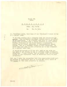 Memorandum from Walter White to W. E. B. Du Bois