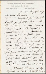Letter from James Miller M'Kim, New York, [N.Y.], to William Lloyd Garrison, May 4th 1867