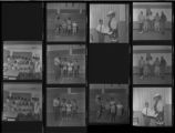 Set of negatives by Clinton Wright including Second Baptist Prayer Band, Elder H. Dorsey, Tony Cox receives award from Mabel Hoggard, marble tournament at Doolittle, and Kappa's golf tournament, 1970