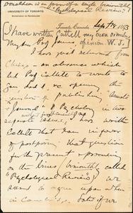 Baldwin, James Mark, 1861-1934 autograph letter signed to William James, Princeton, N.J., 18 September 1893