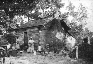 African-American woman in front of log house