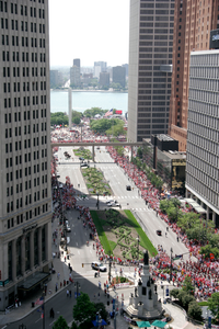 Woodward Avenue (M-1) - Automotive Heritage Trail - Red Wings Victory Parade down Woodward Avenue