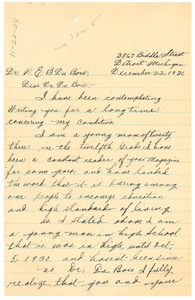 Letter from Berthus N. Harris to W. E. B. Du Bois