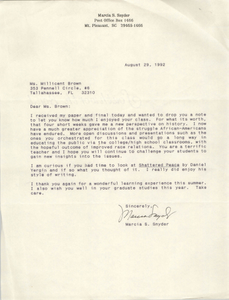 Letter from Marcia S. Snyder to Millicent Brown, August 29, 1992