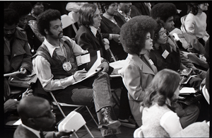 Congressional Black Caucus meeting at the National Center of Afro-American Artists: Jesse Jackson in the audience, taking notes