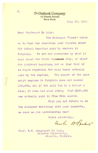 Letter from The Outlook Company to W. E. B. Du Bois