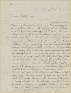 John Brown autograph letter signed to Simon Perkins, Troy, N.Y., 26 January 1852