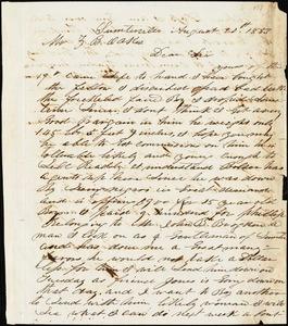 A. J. McElveen, Sumterville, S.C., autograph letter signed to Ziba B. Oakes, 20 August 1853