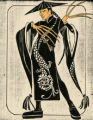 Costume design drawing, black and white Chinese dragon robe, Las Vegas, June 5, 1980