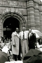 St. Louis Comptroller Virvus Jones, East St. Louis Mayor Gordon Bush, and Freeman Bosley Jr. at Bosley's swearing in ceremony as the first African American mayor of St. Louis, 20 April 1993.