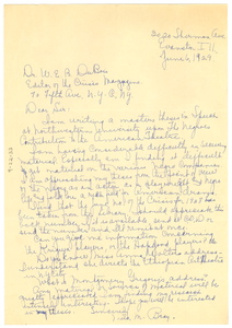 Letter from Mila M. Bray to W. E. B. Du Bois