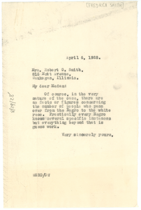 Letter from W. E. B. Du Bois to Fredrica Smith