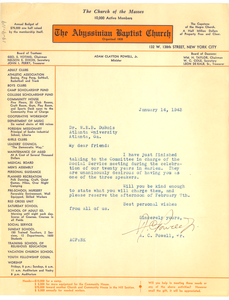Letter from Abyssinian Baptist Church to W. E. B. Du Bois