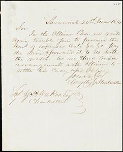 Wylly & Montmollin, Savannah, Ga., manuscript letter signed to Ziba B. Oakes, 24 June 1854
