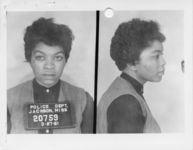 Mississippi State Sovereignty Commission photograph of Evelyn Pierce following her arrest for her participation in a sit-in at a library in Jackson, Mississippi, 1961 March 27