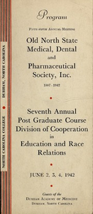 Program of the ... annual session of The Old North State Medical, Dental and Pharmaceutical Society [serial], 55th(1942)