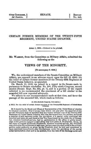 Views of the Minority Senate document (United States. Congress. Senate) 60th Congress, 1st Session. Senate Document Number 446 Brownsville Affray 60th Congress