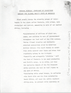 """""""African Peoples' Statement of Indictment Against the Illegal Racist State of Rhodesia"""""""