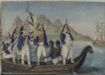 Dutch soldiers in a boat with slaves from the Colonies, Africa