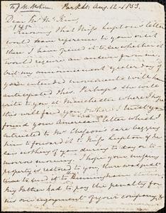 Letter from Mary Anne Estlin, [Bristol, England], to James Miller McKim, 1853 Aug[ust] 12.