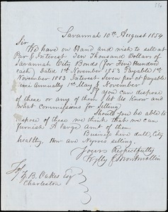 Wylly & Montmollin, Savannah, Ga., manuscript letter signed to Ziba B. Oakes, 10 August 1854