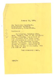 Letter from W. E. B. Du Bois to Pennsylvania Railroad Publicity Department