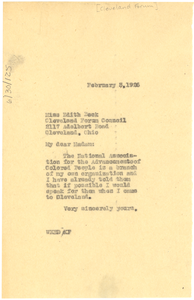 Letter from W. E. B. Du Bois to Cleveland Forum Council
