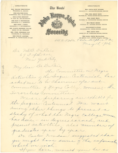 Letter from Sesqui-Centennial International Exposition, Negro Affairs Committee to W. E. B. Du Bois
