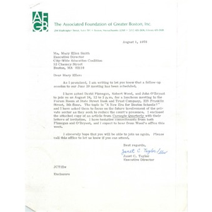 Letter regarding meetings with State Street Bank and Trust Company, August 1, 1978.