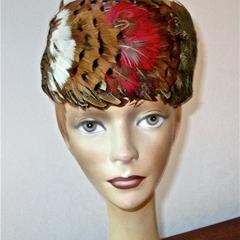Pillbox hat with pheasant feathers