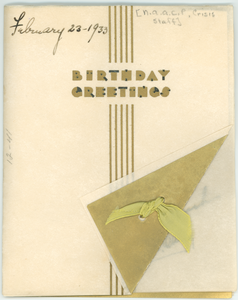 Birthday card from 'The Crisis' staff to W. E. B. Du Bois