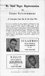 Campaign Brochure: We Need Negro Representation in State Government, Sugarmon and A.W. Willis