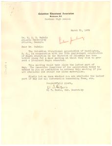 Letter from Columbian Educational Association to W. E. B. Du Bois