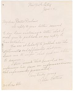 Letter from Lelia Walters to W. E. B. Du Bois