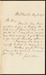 Letter from Joseph A. Allen, West Newton, [Mass.], to Samuel May, Aug. 30, 1873