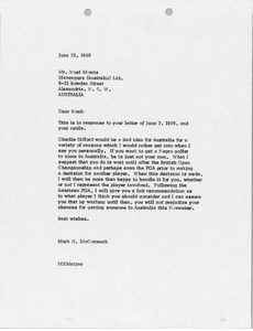 Letter from Mark H. McCormack to Noel Morris