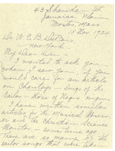 Letter from Maud Cuney-Hare to W. E. B. Du Bois