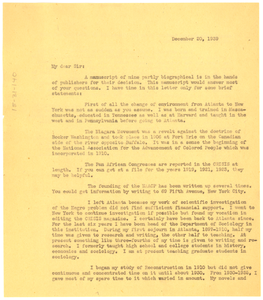 Letter from W. E. B. Du Bois to Ben F. Rogers