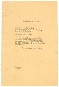 Letter from W. E. B. Du Bois to Thomas J. Bell