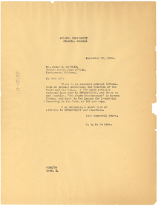 Letter from W. E. B. Du Bois to Oscar E. Saffold