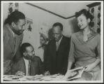 Arlene Roberts with staff of Eyes Magazine, Iowa City, Iowa, 1946